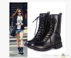 uk us las womens combat military boots lace up faux leather new women boot shoes plus s motorcycle boots military boots from fashion department