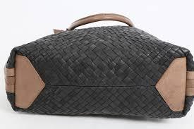 falor black woven leather handbag