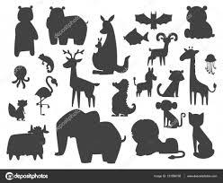 かわいい動物園漫画シルエット動物分離面白い野生動物がかわいい言語を