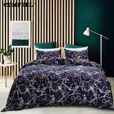 senarai harga comfeel us size cotton bedding sets dark blue cosmic galaxy duvet cover set with 2 pillowcase for king queen twin size quilt bed terbaru di