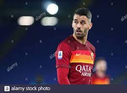 Leonardo Spinazzola von Roma reagiert während der italienischen  Meisterschaft Serie A Fußballspiel zwischen AS Roma und