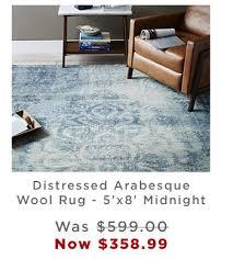 box frame coffee table distressed arabesque wool rug 5 x8 midnight