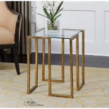 uttermost mirrin accent table in antiqued gold leaf