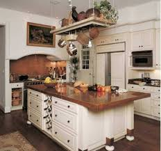 copper countertops in a french country style white kitchen
