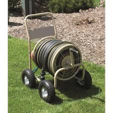 commercial duty steel garden hose reel wagon