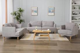 Light Grey Couch Set Esteban Fabric Sofa Set Light Grey