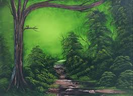 this gorgeous painting of lush green trees deep in the forest with a secret trail is