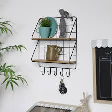 black metal wire wall shelves with