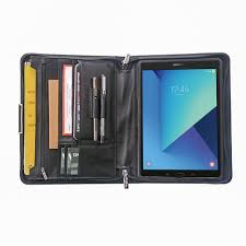 Designer Padfolio Designer Leather Organizer Padfolio With Zipper And Wrist Strap For Samsung Galaxy Tab S3 9 7
