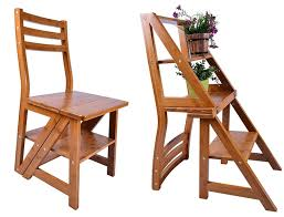 smartlife natural wood multi functional convertible folding library ladder chair four step stool