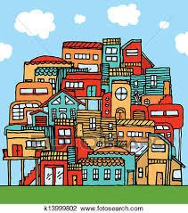 Community Piled Cartoon Houses Clipart K13999802