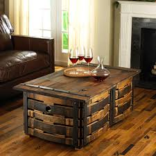... Coffee Table, Amusing Brown Rectangle Minimalist Wood Wine Barrel Coffee  Table With Drawer Design To ...