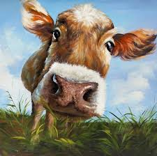 cow in field painting print on wrapped canvas