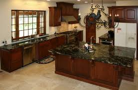 cherry wood kitchen cabinets with black granite brown wooden hickory countertops