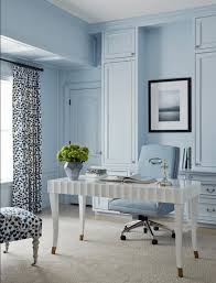 blue home office. Baby Blue Home Office With White Desk, Pantone Airy Blue, Sky Light Powder