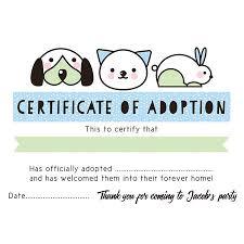 Pet Adoption Certificate Template Pet Rescue Party Pretend Adoption Certificate Blue