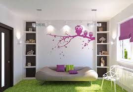 bedroom painting designs: sweet simple wall paint design ideas features white living room wall paint and purple owl branch theme wall decal plus brown velvet covering night sofa