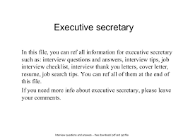 Interview Questions For Executive Assistants Executive Secretary