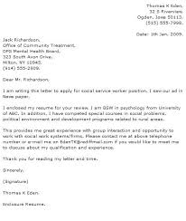 Examples Of Social Work Cover Letters Social Work Cover Letter