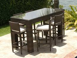 outdoor bar table and stools source zen 7 piece wicker pub set chairs nz outdoor bar table