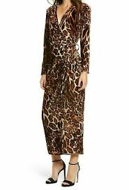 Wayf New Brown Womens Size Xl Leopard Printed Velvet Wrap