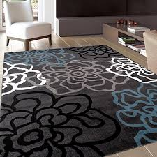 contemporary gray area rug with fl flowers gray black and light blue