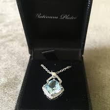 platinum plated blue quartz necklace