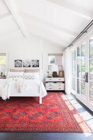 red accent decor inspiration bright boho bedroom with vintage red rug nonagon style