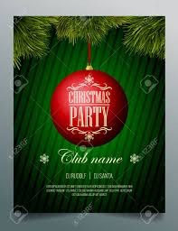 Green Party Flyer Christmas Party Flyer Template Red Bauble On A Green Background