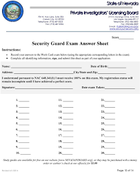 org instructions security guard exam answer sheet score record your answers to the