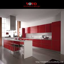 red high gloss furniture. High Gloss Red Integrated Kitchen Furniture With Bar Island For Breakfast H
