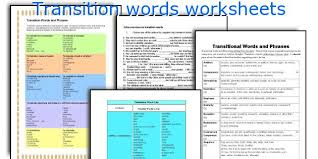 english teaching worksheets transition words