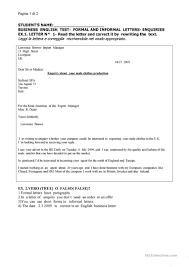 Wriiting Business Letters In English Worksheet Free Esl