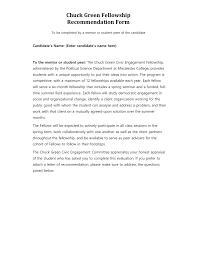 Chuck Green Fellowship Recommendation Form