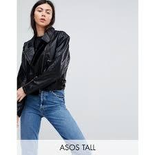 tall tall cropped leather look 80 s biker jacket black spread collar adjule hem dgb 42822