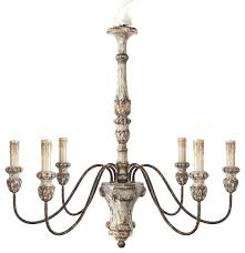 6 light vintage style french country wooden chandelier persian white farmhouse chandeliers