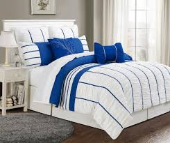 marvelous white king comforter sets with royal blue strips detail