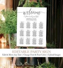 Diy Wedding Seating Chart Diy Wedding Seating Chart Template Calligraphy Script Seating Chart Seating Sign Printable Digital Template Editable Names Seating C1
