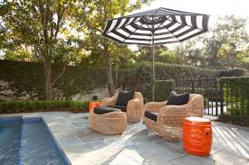outdoor garden stool. Swimming Pool Furniture Including Wicker Chairs And Orange Garden Stools Outdoor Stool