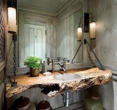 Industrial elements makes any room more masculine. Wood slab with a sink  hanging on the