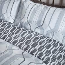 grey geometric single duvet set