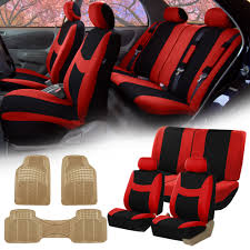 red black car seat covers full set for auto w 2 headrests rubber floor mats