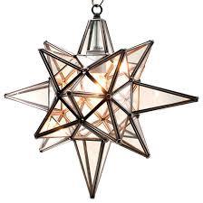 star of bethlehem moravian star pendant clear glass bronze frame 15x18