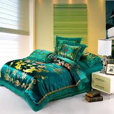 green satin duvet cover set dragon and phoenix chinese wedding bedding set print modern suits jacquard
