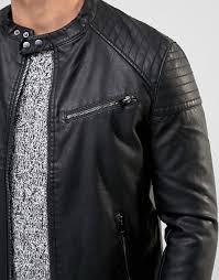 new look new look faux leather biker jacket men black