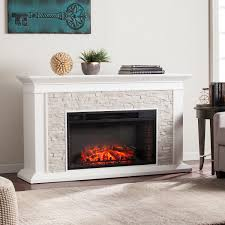 utley white faux stone widescreen electric fireplace