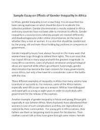 essay on africa twenty hueandi co sample essay on effects of gender inequality in africa