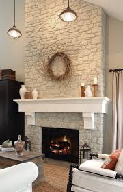 paint fireplace rock out white add reclaimed wood mantle or something like this