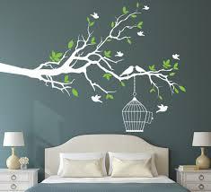 Tree Branch With Bird Cage Wall Art Sticker Vinyl Wall Decals Wall Wall Decal Vinyl Art Stickers Decor
