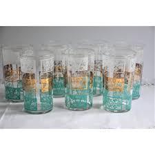 vintage glassware set of seven tumblers